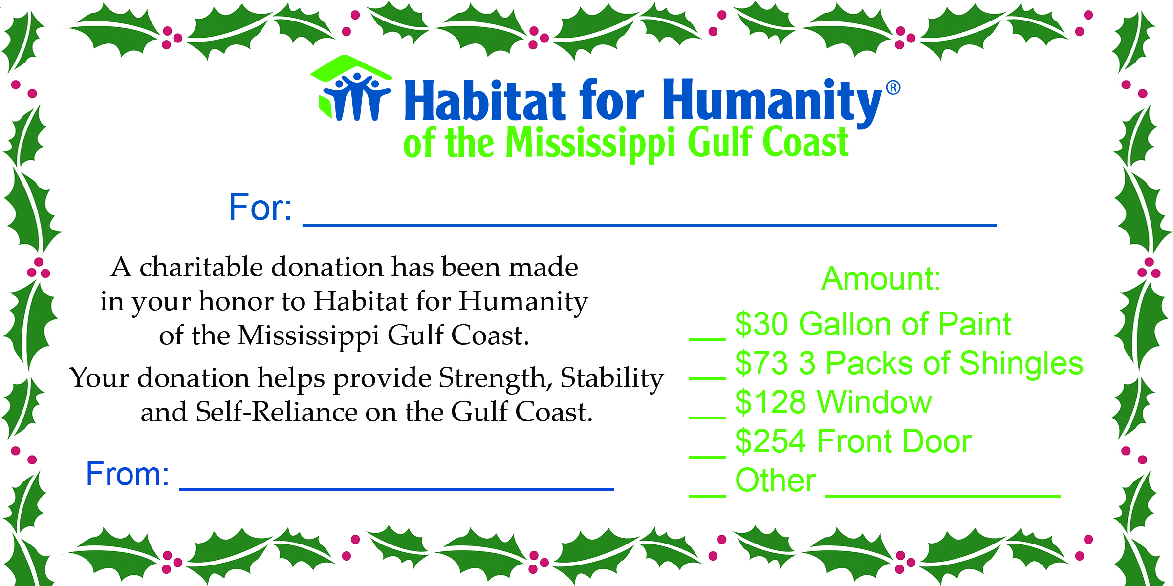 Gift Certificate Yea 2016 Habitat For Humanity Of The Mississippi