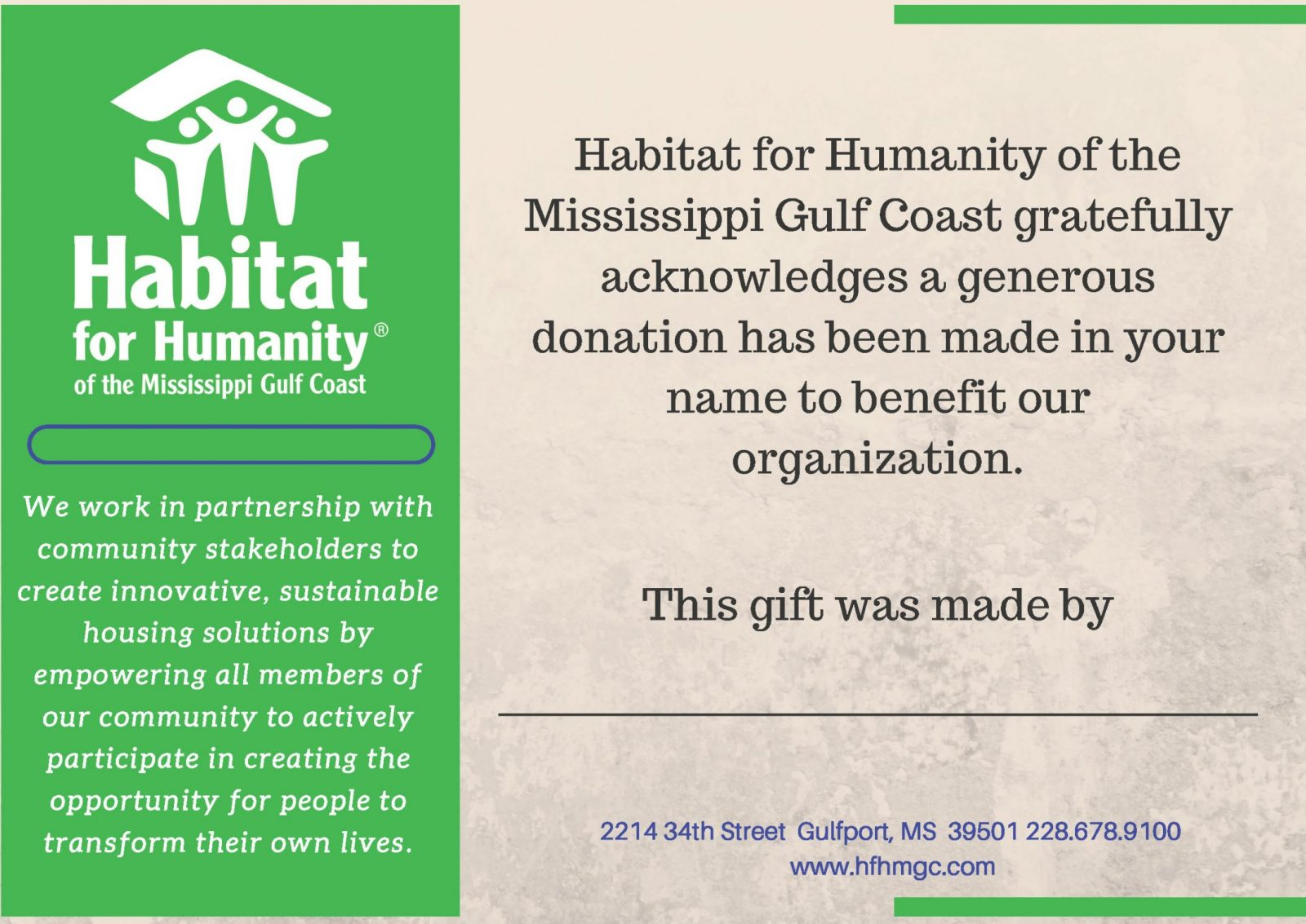 Donation Gift Certificates Habitat For Humanity Of The Mississippi